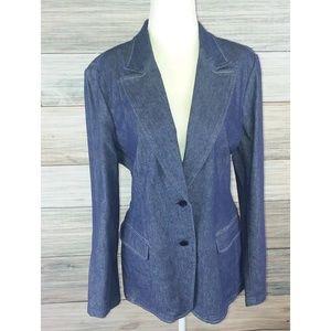 NWT PHILIPPE ADEC Denim Fitted Blazer Jacket 14